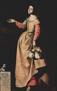St. Rufina of Seville, 1640 by Francisco de Zurbaran. Baroque. religious painting. Museo del Prado, Madrid, Spain