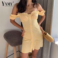 0728d3e67e US $14.99 25% Off | 2019 Summer women dress elegant vintage yellow floral  off shoulder beach dress boho korean vestidos sexy short dress