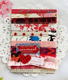 this could be a great use of scraps, or the beginning of hundreds more pieces; handmade card Valentine Day Crafts, Vintage Valentines, Love Valentines, Valentine Banner, Funny Valentine, Colorful Candy, Love Cards, Greeting Cards Handmade, Scrapbooking