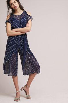 Dobby Dot Tie-Front Petite Jumpsuit