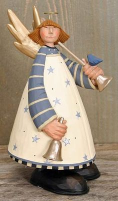 Angel with Horn in Blue Dress Figurine – Christmas Folk Art & Holiday Collectibles – Williraye Studio $9.75