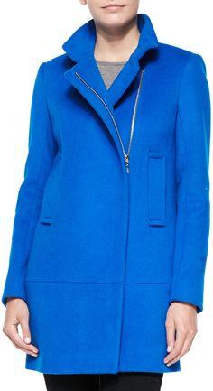 $249, Blue Coat: Diane von Furstenberg Asymmetric Zip Front Walker Coat. Sold by Neiman Marcus. Click for more info: https://lookastic.com/women/shop_items/156195/redirect