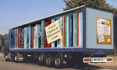 here's one of a truck sporting an optical illusion of a book shelf. This is the kind of marketing that works.