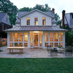 Very nice sunroom. Excellent layout for entertaining too! Outdoor Rooms, Outdoor Living, Metal Roofing Prices, Porch Enclosures, Three Season Room, Cottages And Bungalows, Hip Roof, House Extensions, Metal Roof Colors