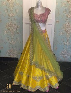 Intricate detailing makes this AR outfit shine like diamonds! Indian Wedding Gowns, Indian Gowns Dresses, Indian Bridal Outfits, Pakistani Bridal Wear, Indian Designer Outfits, Bridal Dresses, Wedding Dress, Formal Dresses, Half Saree Lehenga