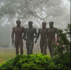 Title: Riace Warriors I, II, III, IV.  Artist: Elisabeth Frink.  On view in the sculpture garden.