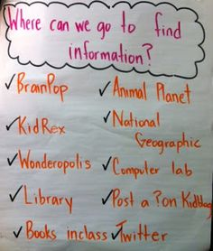 Where Can We Go to Find Information? (research, problem based learning, projects)