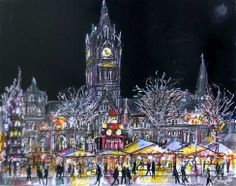 Manchester Town Hall and the Christmas Market by Anthony McCarthy. Manchester Town Hall, Cathedral, Drawings, Christmas, Xmas, Weihnachten, Navidad, Yule, Drawing