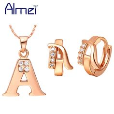 Find More Jewelry Sets Information about Rose Gold Plated Jewelry Sets Letter Pendants Necklace Earrings Letter A B C D E F G H I J K L M N O P Q R S T U V W X Y Z Ulove,High Quality jewelry sliver,China jewelry seal Suppliers, Cheap jewelry swarovski earrings from ULove Fashion Jewelry Store on Aliexpress.com