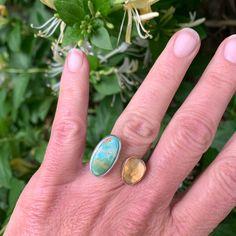Citrine and Carico Lake Turquoise Ring Druzy Ring, Gemstone Rings, 14 Karat Gold, Turquoise Stone, Silver, Handmade, Jewelry, Hand Made, Jewlery