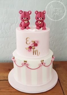 Celebration Cakes-Page 1 Twin Baby Shower Cake, Baby Shower Cake Designs, Baby Shower Brunch, Baby Girl Birthday Cake, Teddy Bear Birthday, Twins Cake, Bear Cakes, Girl Cakes, Celebration Cakes