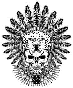 Aztec Jaguar Warrior Skull T-shirt by sixthcycle Aztec Tattoos Sleeve, Aztec Tribal Tattoos, Mayan Tattoos, Mexican Art Tattoos, Aztec Tattoo Designs, Aztec Art, Aztec Warrior Tattoo, Warrior Tattoos, Aztec Symbols
