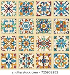 Vector set of Portuguese tiles. Collection of colored patterns for design and fa Azulejos Art Nouveau, Art Nouveau Tiles, Dot Painting, Ceramic Painting, Diy Sticker, Mexican Home Decor, Moroccan Art, Talavera Pottery, Lake Art