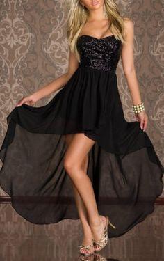 Sequin Embellished Black High Low Hem Dress