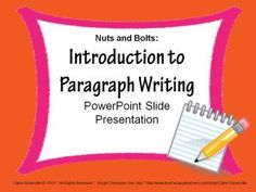 "PARAGRAPH WRITING PowerPoint~ Fun, animated, slide presentation! This step-by-step approach helps students see how easy it can be to decode prompts, use prewriting activities to generate ideas, create a draft with organized ideas and supporting details, revise writing for clarity and fluency, edit writing for accuracy, and publish writing that is attractive and easy-to-read. This ""nuts and bolts"" approach takes the mystery out of writing!"