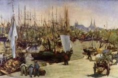 """The Harbour at Bordeaux, Oil by Edouard Manet France). """"The Harbour at Bordeaux"""" Edouard Manet - Oil At the moment this painting is in a Private Collection, Switzerland. Oil Canvas, Canvas Art, Canvas Prints, Camille Pissarro, Claude Monet, Edouard Manet Paintings, Painting Prints, Art Prints, Boat Painting"""