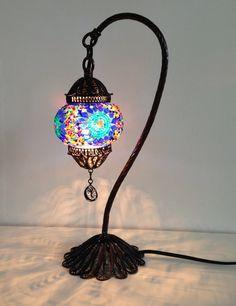 Blue Turkish Stylish Boho mosaic lamp with hand by TheLampCorner