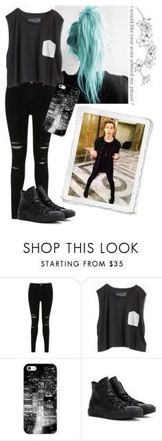 """""""Luke Hemmings"""" by trashxxn ❤ liked on Polyvore featuring Miss Selfridge, Blondes Make Better T-Shirts, Casetify, Converse and Promise"""