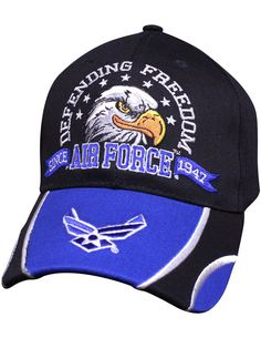 0bff60c62017c Military Branch Emblem Embroidered Cotton Adult Baseball Cap - US Air Force