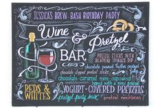 """Bar menu for party, 18""""x24"""" canvas, custom painting, chalkboard look"""