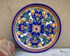 "15"" Diameter Older Talavera Plate Table Centerpiece, Mexican Pottery Folk Art, Southwestern Decor"
