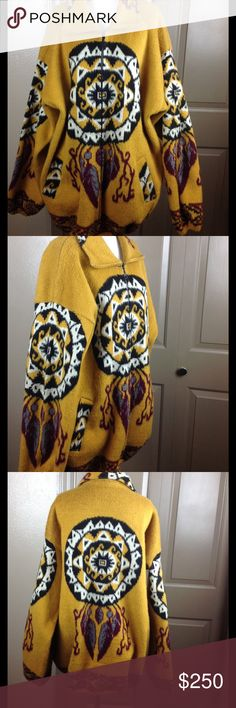 Amazing XXL Wool Blanket Coat Southwestern Dream Really great condition dream catcher feathers southwestern design deep hand pockets tie cinch bottom wool hand wash 33 inch length 28 inches armpit to armpit 24 inch arms 27 shoulders colors are gold/red/black/white and blue Artesanias Jackets & Coats