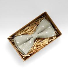 Beige polka dot bow tie Light grey bow tie Grey bow tie by Luwrine