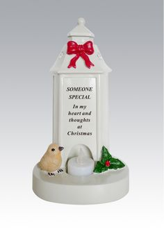 Dad Lantern Shaped Memorial Ornament Lantern Shaped Memorial with flickering tea light. Robin and holly decoration on the base. Loving Christmas thoughts of a dearly missed DAD Made from resin with battery operated tea light included. Measures 13 x 22 cm Christmas Thoughts, Christmas Makes, Memorial Ornaments, Memorial Plaques, Christmas Ornaments, Memorial Messages, Battery Operated Tea Lights, Budget, Floral Supplies