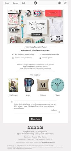 Zazzle welcome email