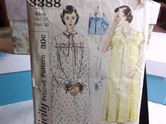 Bed Jacket and Nightgown 1950s Vintage Sewing Pattern Simplicity 3388 Size 12 by MrsPsSewingEmporium on Etsy