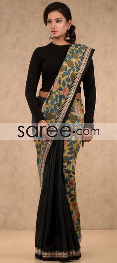 Black and Mustard Silk Saree with Kalamkari Print By Asopalav Jamdani Saree, Kalamkari Saree, Silk Sarees, Saris, Saree Wearing Styles, Saree Styles, Beautiful Blouses, Beautiful Saree, Kalamkari Designs