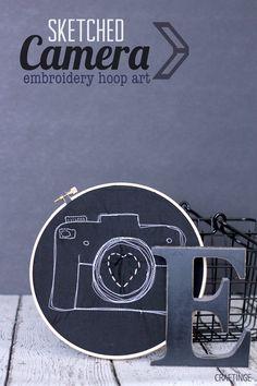 Camera Embroidery Hoop Art
