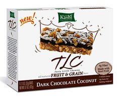 Healthy Natural Snacks  Kashi Dark Chocolate Coconut Fruit & Grain Bar  Nutrition: (1 bar): 120 calories, 4g fat (1.5g saturated), 20g carbohydrates, 50mg sodium, 4g fiber, 4g protein