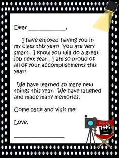FREE END-OF-YEAR STUDENT NOTE~   Great way to send off your students!