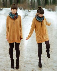 Scarf with necklace look. And love the gold, loose-fit tunic sweater.