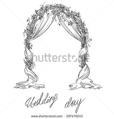 Illustration of Wedding arch. Doodle Wedding, Wedding Drawing, Wedding Painting, Wedding Gate, Wedding Ceremony Flowers, Wedding Book, Hanging Wedding Decorations, Arch Decoration, Pink Save The Dates