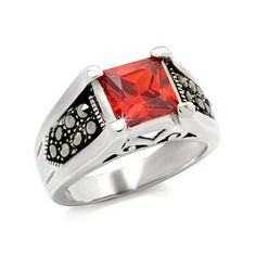Garnet CZ Sterling Silver Ring - Perfect Antique Style Gift, VORI09-05174