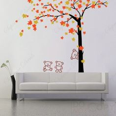 """Kids Playroom Tree Decals Children Wall Decals Teddy Bears Decal Autumn Tree Decals- Autumn Tree and Bears(71""""H)- Removable Art Wallpapers"""