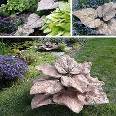 rhubarb leaves with rod inserted to hold leaves up. would be nice as the fountain Concrete Yard, Cement Garden, Concrete Crafts, Concrete Planters, Outdoor Crafts, Outdoor Projects, Garden Crafts, Garden Projects, Concrete Leaves