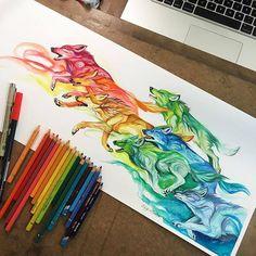 rainbow wolves. Designwars.com  @katy_lipscomb