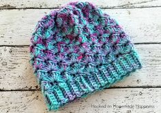 Shell Stitch Beanie Crochet Pattern came out so beautiful and with an easy 2 row repeat pattern, it stitches up in no time.