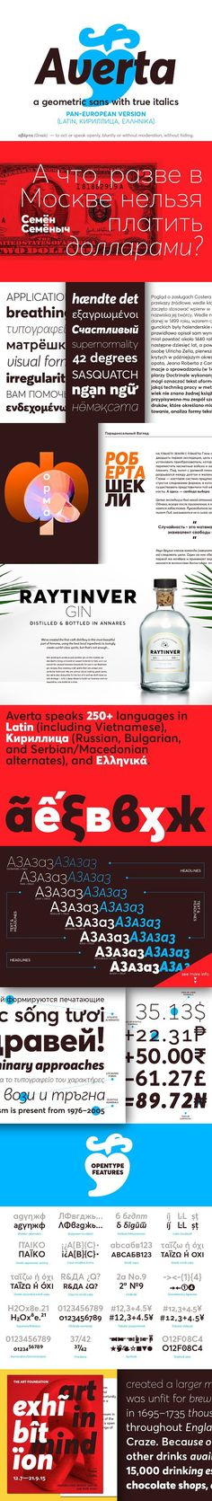 Bringing together features from early European grotesques and American gothics, Kostas Bartokas' Averta (Greek: 'αβέρτα' – to act or speak openly, bluntly or Superior Inferior, Gothic Fonts, Small Caps, American Gothic, Sans Serif Fonts, Cool Fonts, Glyphs, Editorial Design, Signage