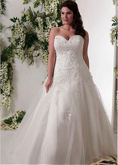Gorgeous Tulle Sweetheart Neckline A-line Plus Size Wedding Dresses with Beaded Sequin Lace Appliques