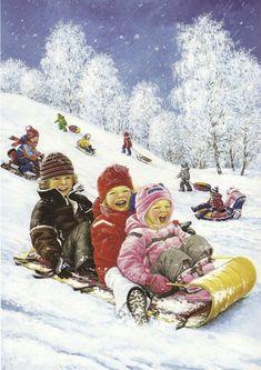 """Winter fun"" by Love Novoselov. Christmas Scenes, Christmas Pictures, Christmas Art, Winter Christmas, Winter Szenen, Winter Time, Winter Images, Winter Pictures, Four Seasons Art"