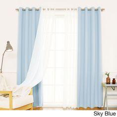 Aurora Home Mix & Match Blackout with Muji Sheer 4-piece Grommet Curtain Set