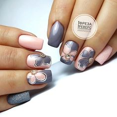 Fall Nail Designs - My Cool Nail Designs Short Nail Designs, Fall Nail Designs, Manicure, Classy Nails, Flower Nails, Perfect Nails, French Nails, Short Nails, Toe Nails