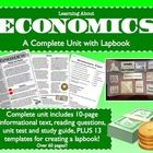 Economics Unit & Lapbook! 10 page complex text, unit test, AND pieces for a lapbook or interactive notebook. Great for Common Core reading and Social Studies.