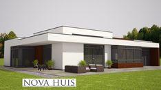 moderne bungalow energieneutraal grote ramen veel licht NOVA-HUIS.nl A50 Modern House Facades, Modern House Design, Flat Roof House Designs, Modern Bungalow, Facade House, Interior Exterior, Villas, Future House, Bungalows