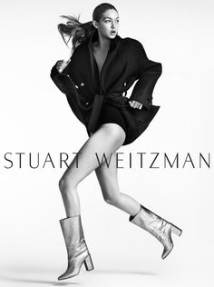 Leggy model Gigi Hadid shows off her workout routine (really!) in Stuart Weitzman's newest campaign. -PJ Gach Talk about life imitating art. Stuart Weitzman's new fall campaign featuring Gigi Hadid shows off her workout regimen. Shot by Mario Testino, Gigi goes through her moves. The leggy model, back to dating...