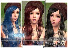 XM Sims2 free Sims 2 computer game hair new mesh download Sims 2, Free Sims, Long Wavy Hair, Gaming Computer, Winter Hats, Long Hair Styles, Mesh, Game, Content